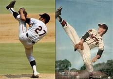 Juan Marichal And Warren Spahn high kicks